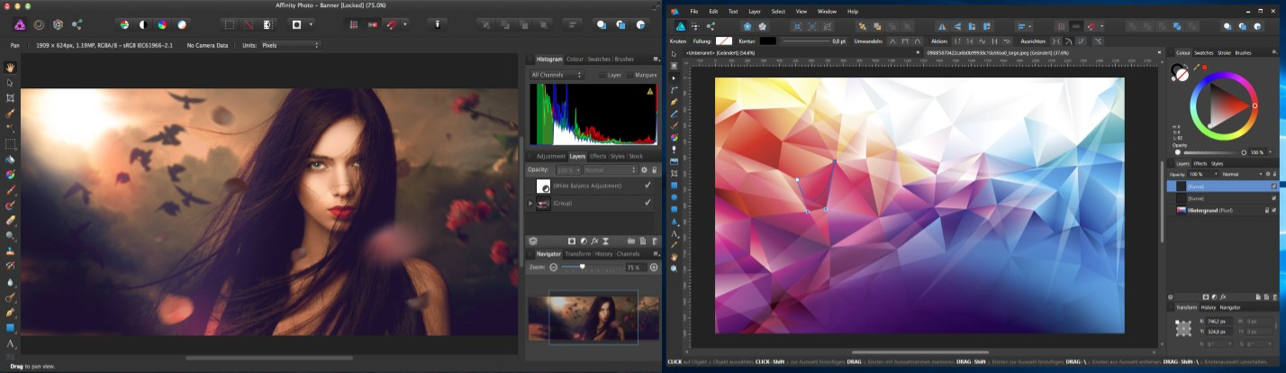 interfaz de affinity photo