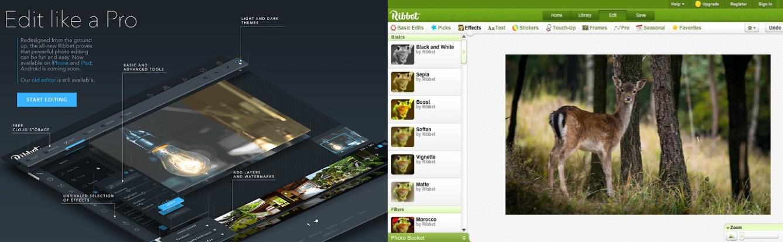 interfaz de la plataforma y programa para recortar fotos ribbet