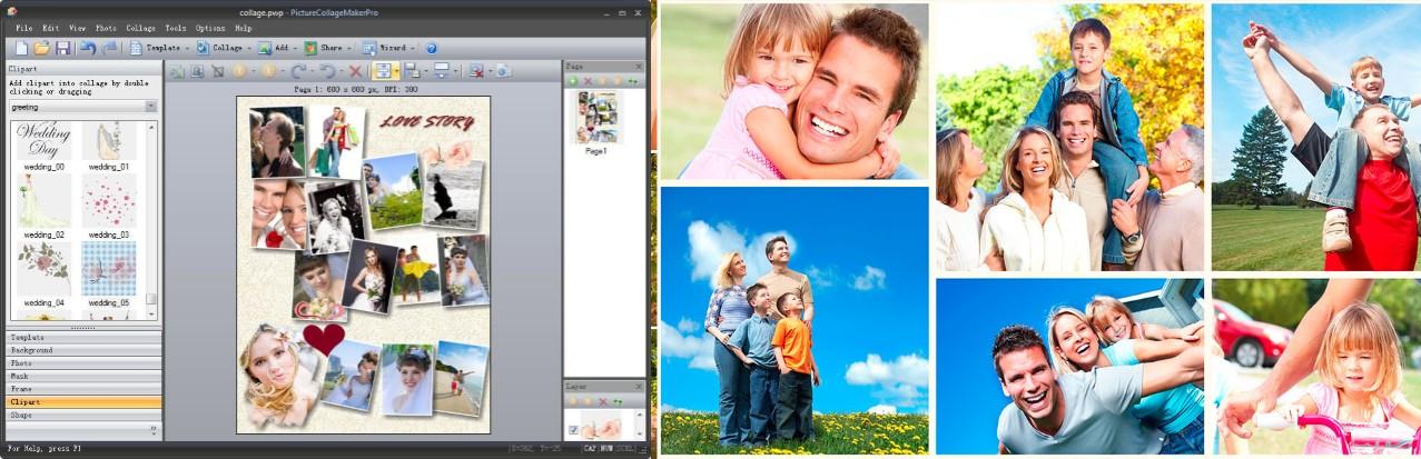 interfaz de photo collage maker