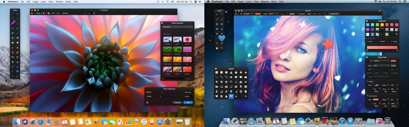 interfaz del programa para recortar fotos pixelmator