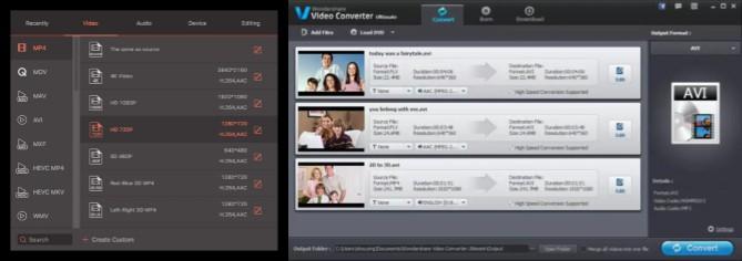 formatos e interfaz de wondershare video converter ultimate