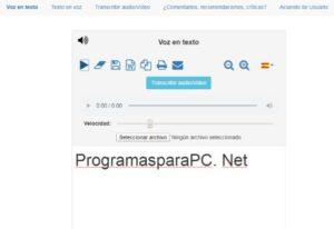 interfaz de programas para transcribir audio reconocimiento de voz online