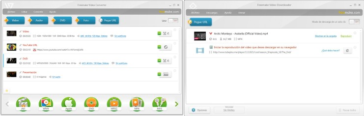 interfaz del programa freemake video converter
