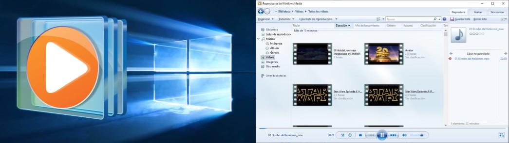 logo e interfaz del reproductor de windows media