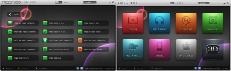 opciones del programa free studio