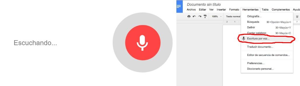 opciones del programa para transcribir audio reconocimiento de voz de google