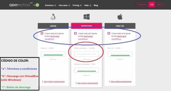 En Windows tienes la opción de descargar VirtualBox junto con Genymotion,