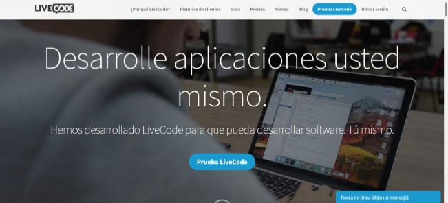inicio de la web livecode