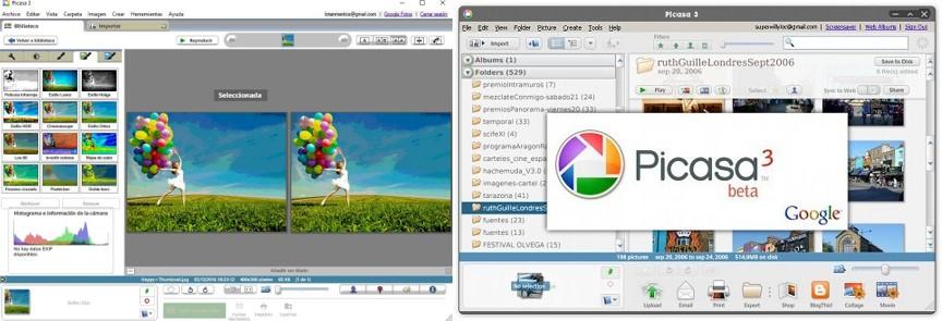 interfaz del programa para retocar fotos picasa