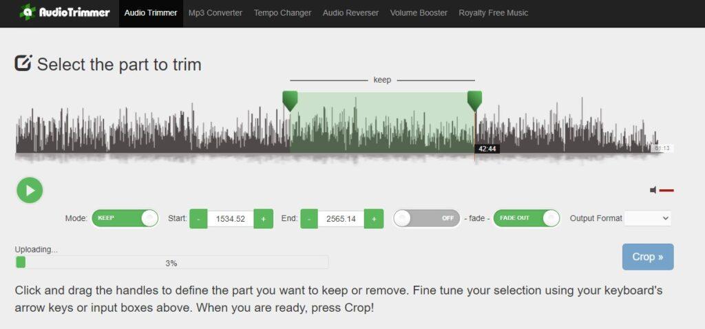 Programas online para cortar canciones - audio timmer